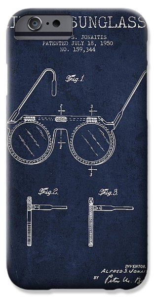 Sunglasses iPhone Cases - Sunglasses patent from 1950 - Navy Blue iPhone Case by Aged Pixel
