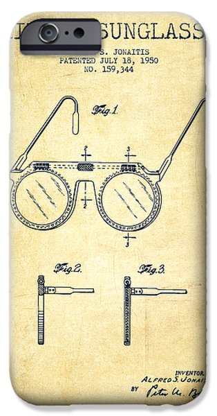 Sunglasses iPhone Cases - Sunglasses patent from 1950 - Vintage iPhone Case by Aged Pixel