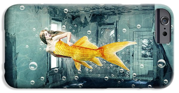 Goldfish iPhone Cases - Sunken Palace iPhone Case by Juli Scalzi