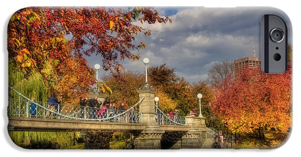 Fall In New England iPhone Cases - Sunkissed Lagoon Bridge iPhone Case by Joann Vitali
