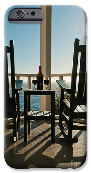 Table Wine iPhone Cases - Sunlit Deck iPhone Case by Ron Sanford