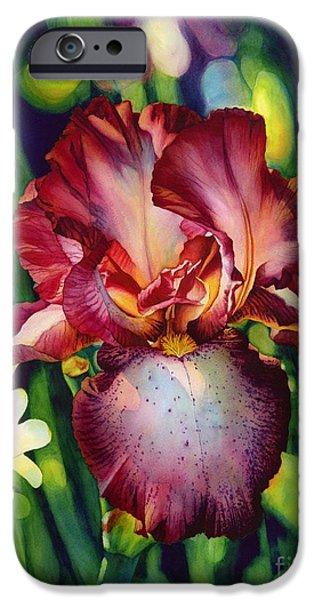 Iris iPhone Cases - Sunlit Iris iPhone Case by Hailey E Herrera