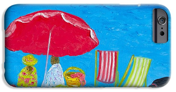 Beach Towel iPhone Cases - Sunny afternoon at the beach iPhone Case by Jan Matson