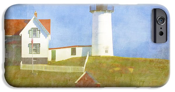 Cape Neddick Lighthouse iPhone Cases - Sunny Day at Nubble Lighthouse iPhone Case by Carol Leigh