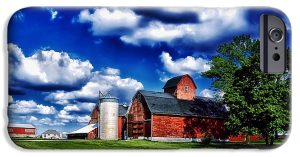 Illinois Barns iPhone Cases - Sunny Day on an Illinois Farm iPhone Case by Mountain Dreams
