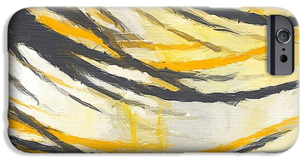 Yellow And Grey Abstract Art iPhone Cases - Sunny Field iPhone Case by Lourry Legarde