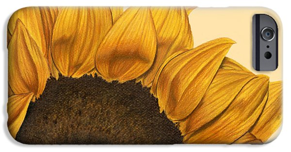Close Up Drawings iPhone Cases - Sunny Flower iPhone Case by Sarah Batalka