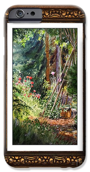 Blake iPhone Cases - Sunny Garden In Vintage Frame iPhone Case by Irina Sztukowski