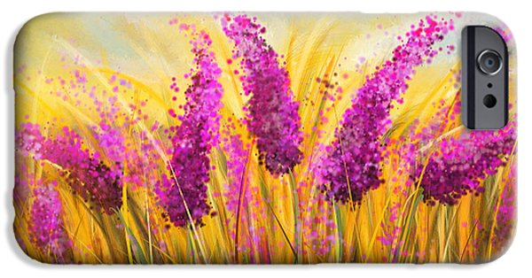 Purple Art iPhone Cases - Sunny Lavender Field - Impressionist iPhone Case by Lourry Legarde
