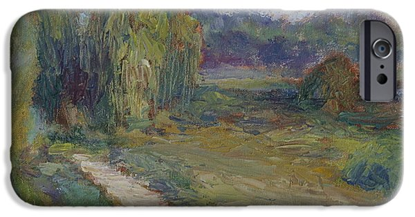 Willow Lake Paintings iPhone Cases - Sunny Morning in the Park -Wetlands - Original - Textural Palette Knife Painting iPhone Case by Quin Sweetman