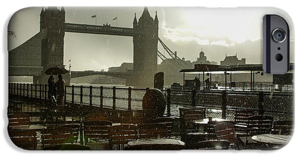 Storm iPhone Cases - Sunny Rainstorm in London - England iPhone Case by Georgia Mizuleva