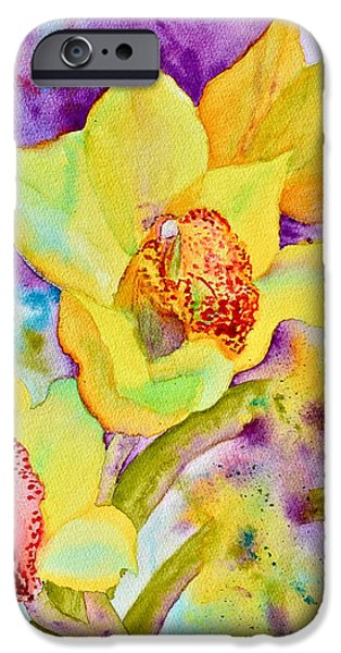 Splashy Paintings iPhone Cases - Sunny Splash of Orchids iPhone Case by Beverley Harper Tinsley