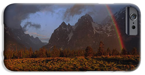 Field. Cloud iPhone Cases - Sunrise & Rainbow Grand Teton National iPhone Case by Panoramic Images