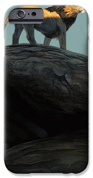 Lion Digital Art iPhone Cases - Sunrise iPhone Case by Aaron Blaise