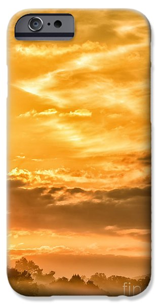 Colorful Cloud Formations iPhone Cases - Sunrise and Mountain Fog iPhone Case by Thomas R Fletcher