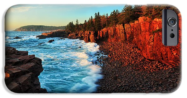 Rocky Maine Coast iPhone Cases - Sunrise at Acadia Panorama iPhone Case by Bill Caldwell -        ABeautifulSky Photography