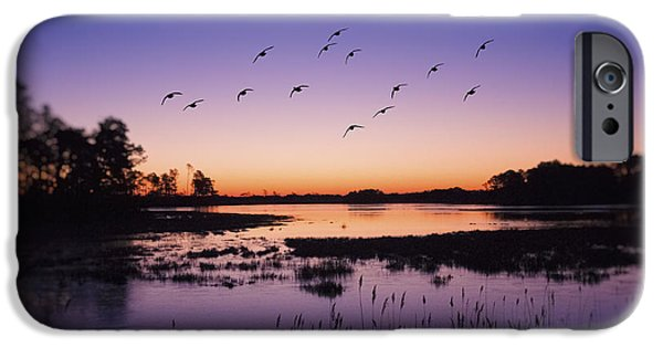 Sunset Seascape iPhone Cases - Sunrise At Assateague - Wetlands - Silhouette  iPhone Case by Sharon Norman