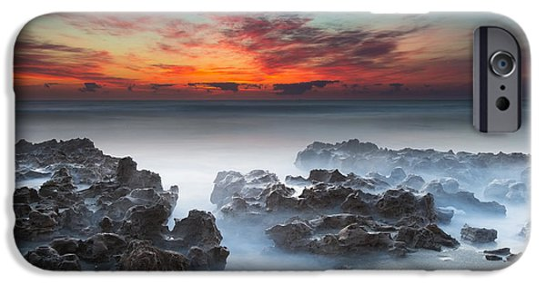 Sand iPhone Cases - Sunrise at Blowing Rocks Preserve iPhone Case by Andres Leon