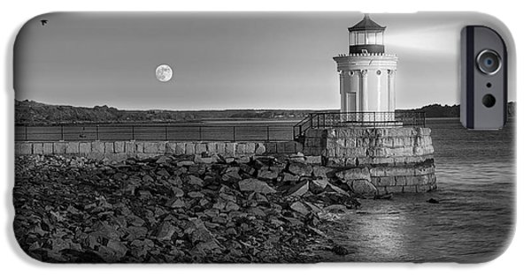Maine iPhone Cases - Sunrise at Bug Light BW iPhone Case by Susan Candelario
