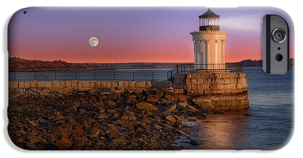 Moonscape iPhone Cases - Sunrise at Bug Light iPhone Case by Susan Candelario