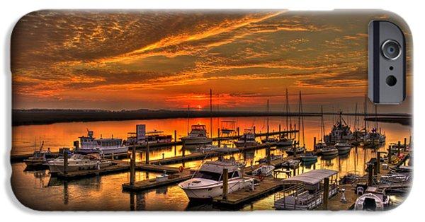 Tybee Island Pier iPhone Cases - Sunrise at Bull River Marina Tybee Island iPhone Case by Reid Callaway