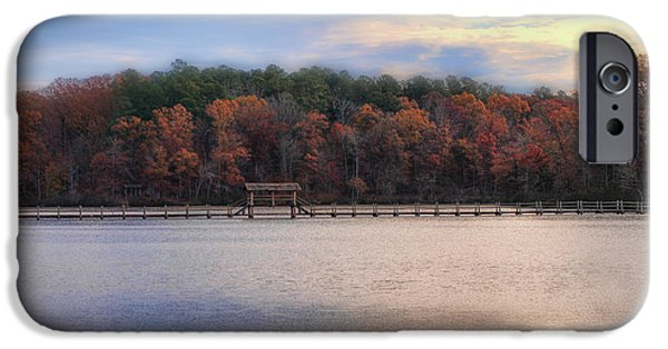Autumn Scenes iPhone Cases - Sunrise at Chickasaw - Autumn Lake Scene iPhone Case by Jai Johnson