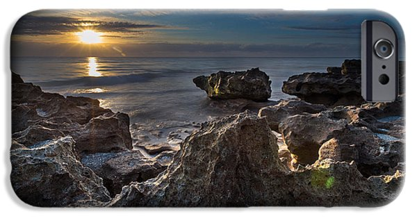 Fog iPhone Cases - Sunrise at Coral Cove Park in Jupiter iPhone Case by Andres Leon