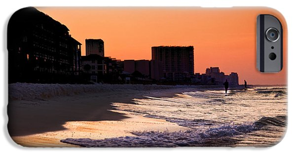 Surf Silhouette iPhone Cases - Sunrise at Destin iPhone Case by Joel P Black