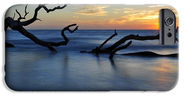 Beach Photographs iPhone Cases - Sunrise at Driftwood Beach 7.3 iPhone Case by Bruce Gourley