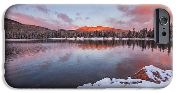 Colorado Framed Prints iPhone Cases - Sunrise at Echo Lake iPhone Case by Darren  White