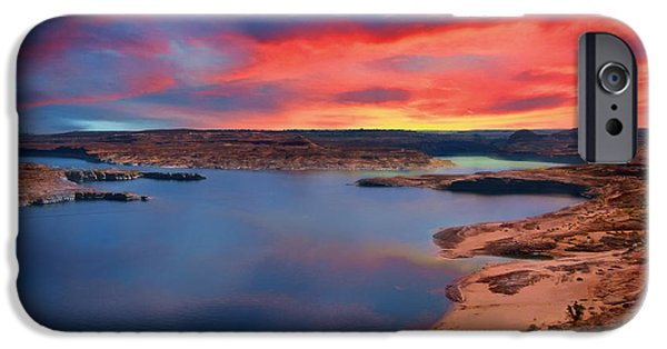 Lake Powell iPhone Cases - Sunrise at Lake Powell iPhone Case by Mountain Dreams