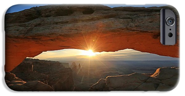 Sunflare iPhone Cases - Sunrise at Mesa Arch iPhone Case by Jaki Miller