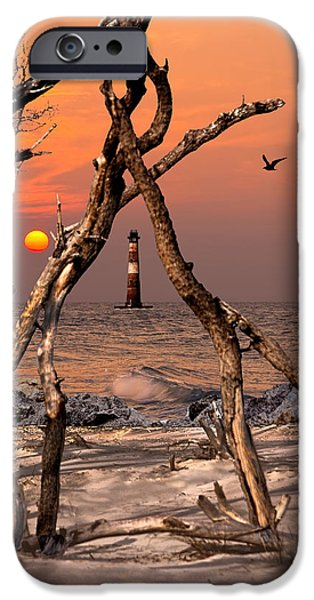Sea Birds iPhone Cases - Sunrise at Morris Island LH iPhone Case by Terry Shoemaker