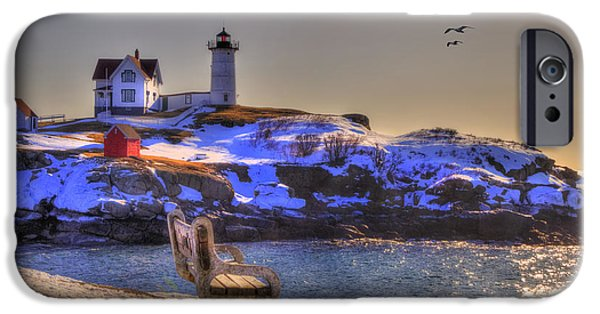 Nubble Lighthouse iPhone Cases - Sunrise at Nubble Lighthouse - Cape Neddick - York Maine iPhone Case by Joann Vitali