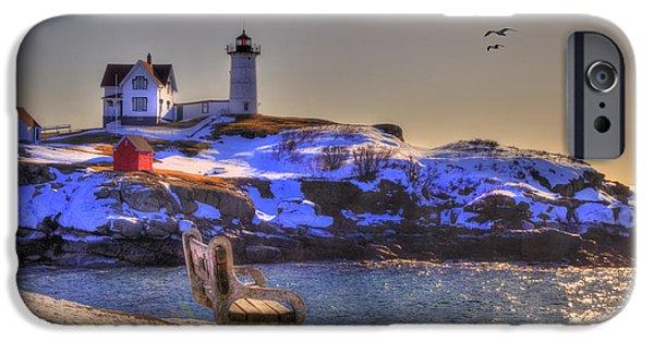 New England Snow Scene iPhone Cases - Sunrise at Nubble Lighthouse - Cape Neddick - York Maine iPhone Case by Joann Vitali