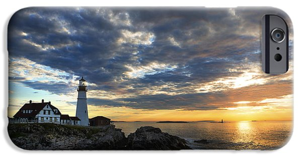 Bay Head Beach iPhone Cases - Sunrise at Portland Head Light iPhone Case by Diane Diederich
