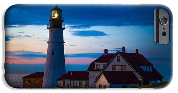 Lighthouse iPhone Cases - Sunrise at Portland Head Lighthouse iPhone Case by Diane Diederich