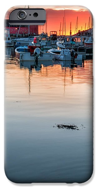 Village By The Sea iPhone Cases - Sunrise at Rockport Harbor - Cape Ann iPhone Case by Thomas Schoeller