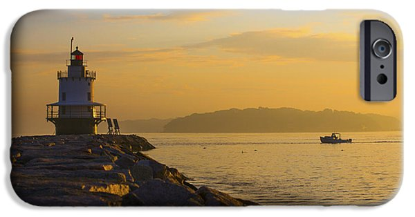 New England Lighthouse iPhone Cases - Sunrise at Spring Point Portland Maine iPhone Case by Diane Diederich