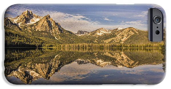 Snow iPhone Cases - Sunrise at Stanley Lake iPhone Case by Priscilla Burgers