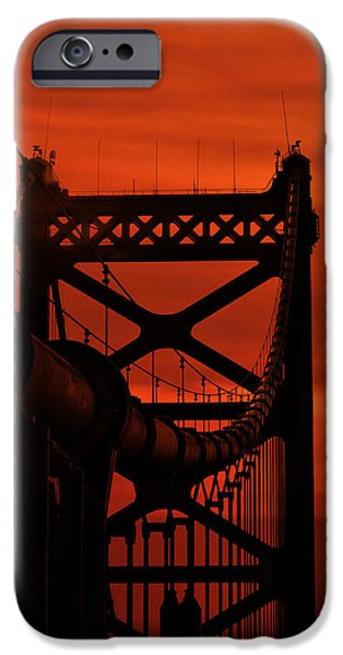 Franklin iPhone Cases - Sunrise at the Ben Franklin Bridge iPhone Case by Bill Cannon