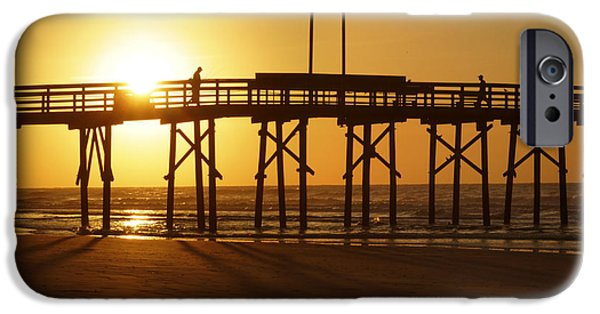 Topsail iPhone Cases - Sunrise at the Jolly Roger Pier 2 iPhone Case by Mike McGlothlen