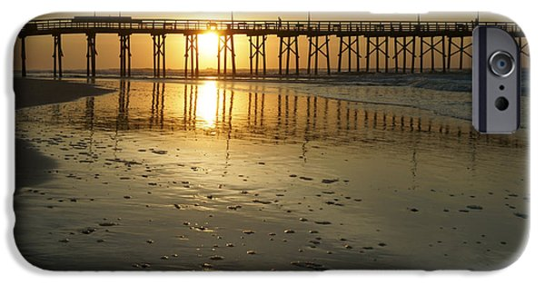 Topsail iPhone Cases - Sunrise at the Jolly Roger Pier iPhone Case by Mike McGlothlen