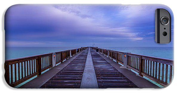 Panama City Beach Photographs iPhone Cases - Sunrise at the Panama City Beach Pier iPhone Case by David Morefield