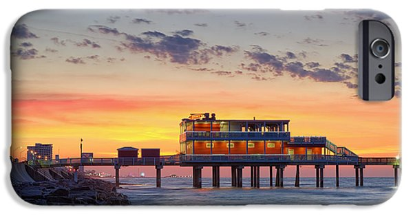 Fiery iPhone Cases - Sunrise at the Pier - Galveston Texas Gulf Coast iPhone Case by Silvio Ligutti