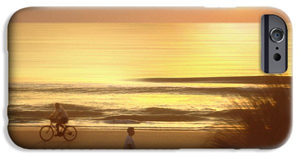 Dog Walking Digital iPhone Cases - Sunrise at Topsail Island 2 iPhone Case by Mike McGlothlen