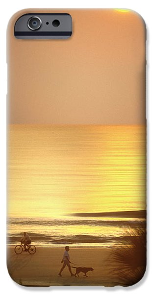 Dog Walking Digital iPhone Cases - Sunrise at Topsail Island Panoramic iPhone Case by Mike McGlothlen
