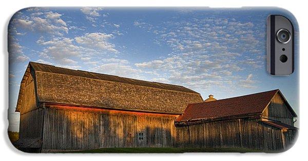 Barns iPhone Cases - Sunrise Barn iPhone Case by Jeff Klingler