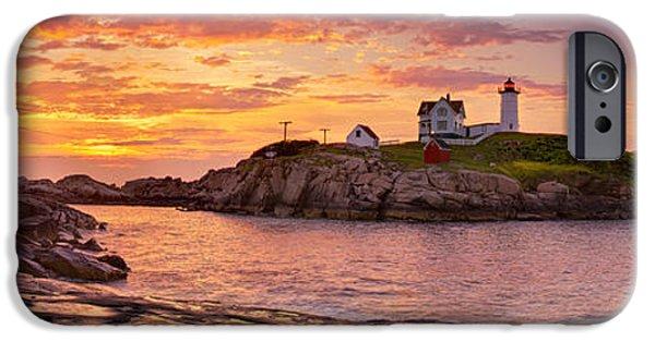 Cape Neddick Lighthouse iPhone Cases - Sunrise Behind Cape Neddick  iPhone Case by Scott Lynde