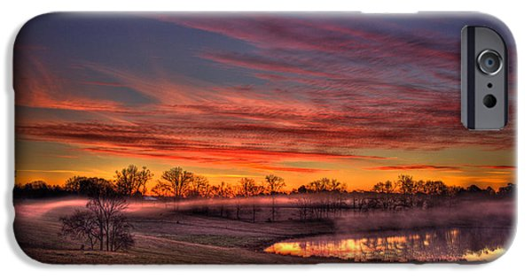 Pastureland iPhone Cases - Misty Morning Other Worldly Sunrise iPhone Case by Reid Callaway